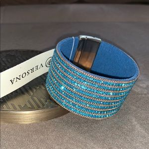 Turquoise blue crystal and gold magnetic bracelet